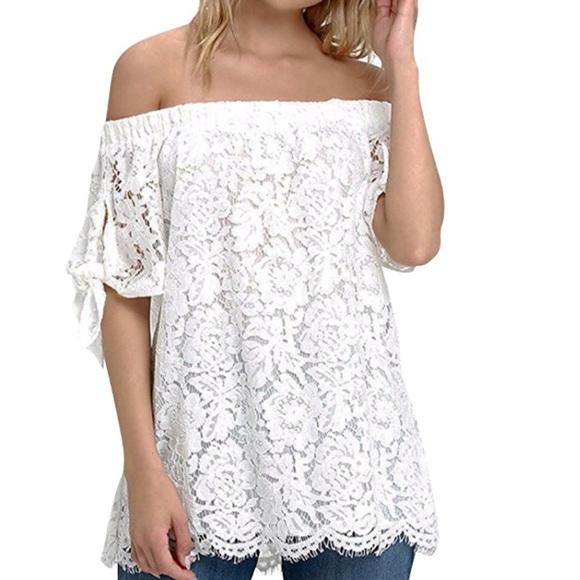 a25d1bab26b Tops | Women Off Shoulder Top Sexy Lace Crochet Blouse | Poshmark